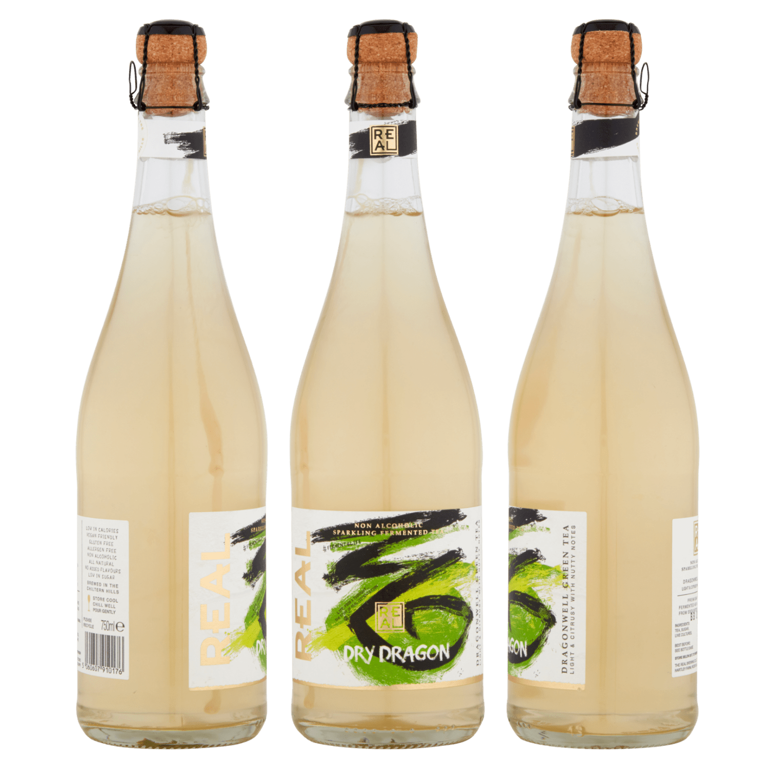 750ml bottles of REAL Kombucha Dry Dragon