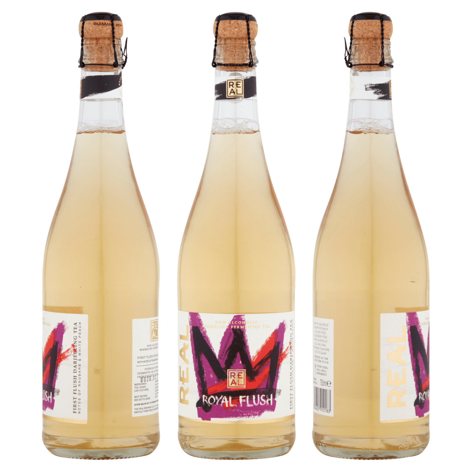 750ml bottles of REAL Kombucha Royal Flush